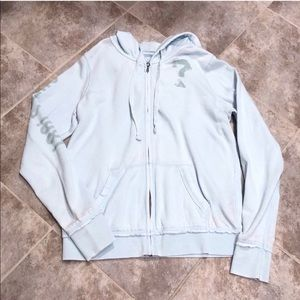 Guess distressed blue full zip hooded swea…